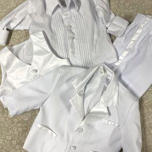 Christening suit, tuxedo pants vest shirt & jacket